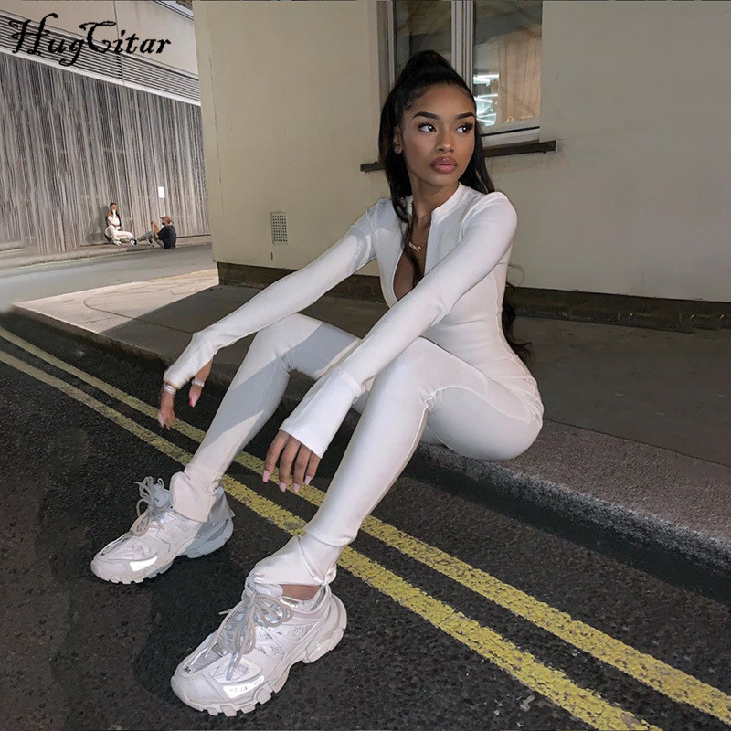 Hugcitar 2020 Long Sleeve Zipper Patchwork Bodycon Jumpsuit Spring Women Streetwear Solid Outifts Stretchy Sports Wear