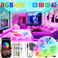30M-5M Bluetooth LED Strip Lights RGB Warm White Waterproof Flexible Ribbon 2835 Led Light lamp RGBWW SMD Tape Diode for room