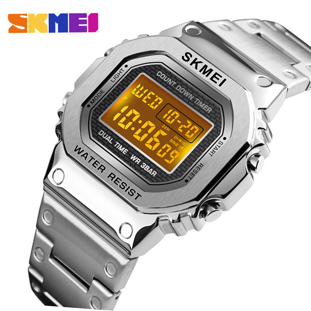 Fast Ship <font><b>Skmei</b></font> <font><b>1456</b></font> Men Digital Watch Stainless Steel Chronograph Countdown Wristwatch Shock LED Sprot Watch <font><b>skmei</b></font> montre homm image