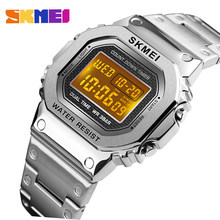 skmei 1456 Men G-Style Digital Watch Stainless Steel Chronograph Countdown Wristwatches Shock LED Sprot Watch skmei montre homm(China)