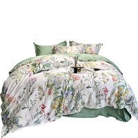 Luxury 100% Egyptian Cotton Bedding Sets Floral Percal Satin Bed Linen Sheets Duvet Cover Bed Flower Print Queen King Bedspreads