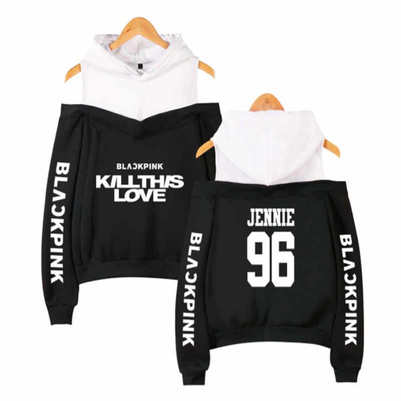 Kpop hoodies kpop blackpink sexy fora do ombro hoodies moletom feminino membro da equipe moletom menina grupo preto rosa roupas
