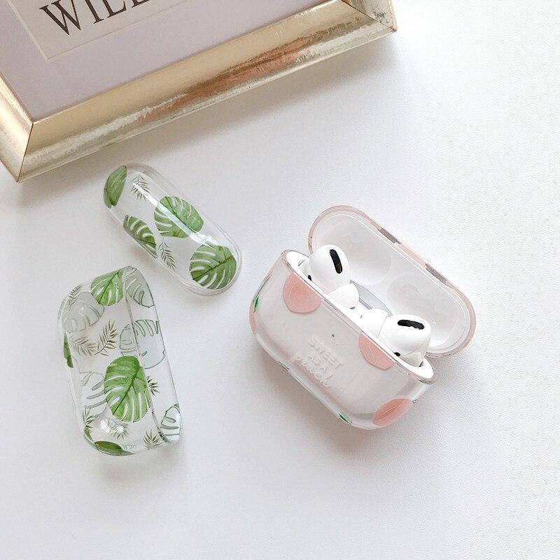 Купить ins персиковый чехол с банановым листом для apple airpods pro