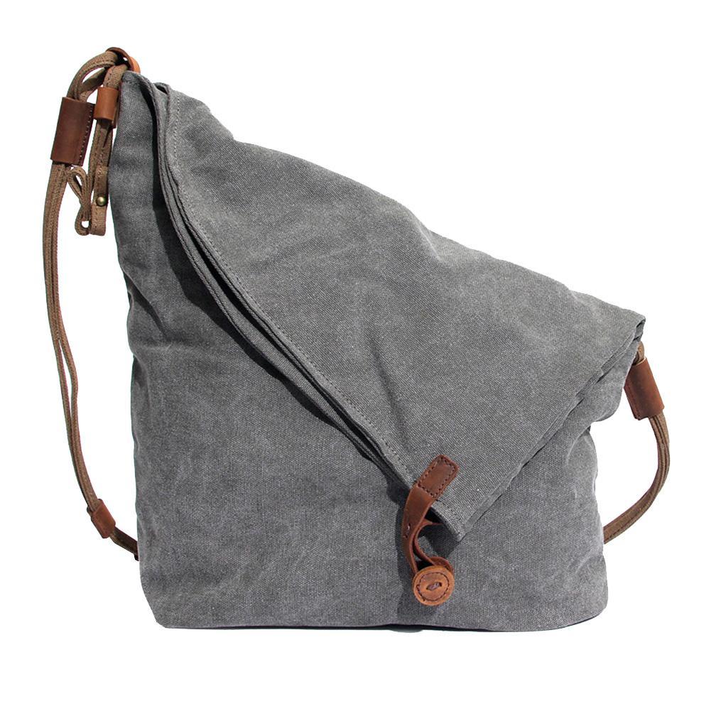 Vintage Solid Color Flap Look Large Capacity Women Crossbody Shoulder Canvas Bag