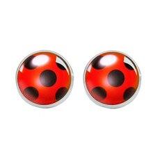 Brincos ladybug, joias banhadas em aço inoxidável estilo desenho animado, domo, brincos