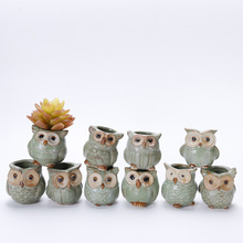 10 Pcs/Set Creative Ceramic Owl Shape Mini Flower Pots ceramic pot  flower farmhouse home decor succulents plants
