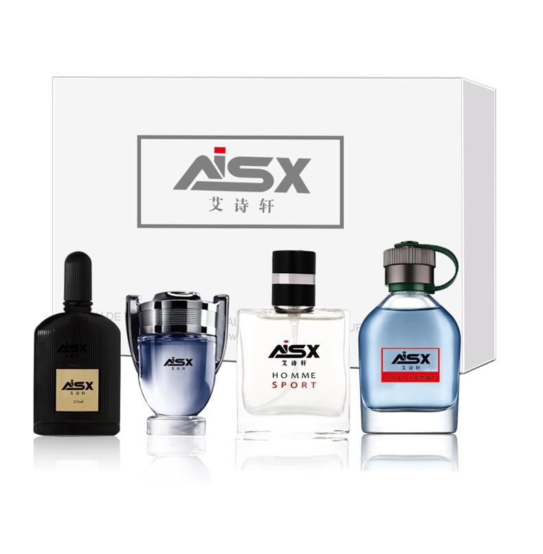 LANBENA 1Set 4Pcs Men Perfume Long Lasting Fragrance Mini Bottle Portable Parfum Brand Gentleman Lasting Spray Glass Bottle