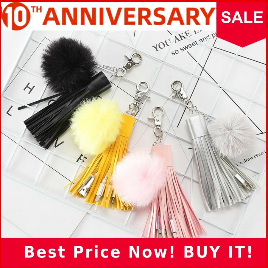 Multifunctional USB Braided Cord Charger Bag Pendant Tassel Puffy Ball Keychain Accessories Pompom Decorative Jewelry Charm BP01