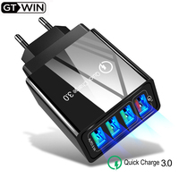 GTWIN 48W Quick Charge QC3.0 USB Charging for iPhone Samsung Xiaomi 3A Portable Phone Wall Charger US EU UK Plug Adapter 4 Port