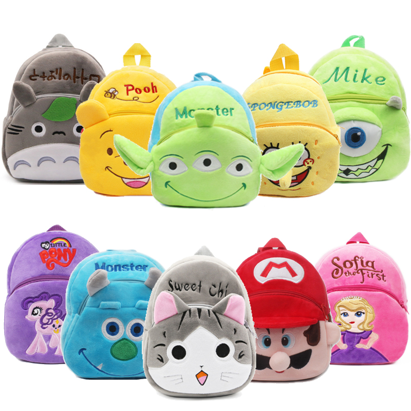 Toy story Monster Alien Plush Backpacks Cartoon Kids Mike School Bags Toys Cute Kindergarten Children Birthday gift For 1-3 year(China)