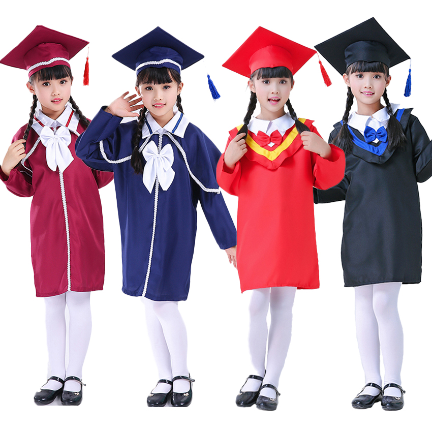 Kids Graduation Gown Children Bachelor Costumes School Students Uniform Girls Dress Set With Hat Baby Performance Clothing