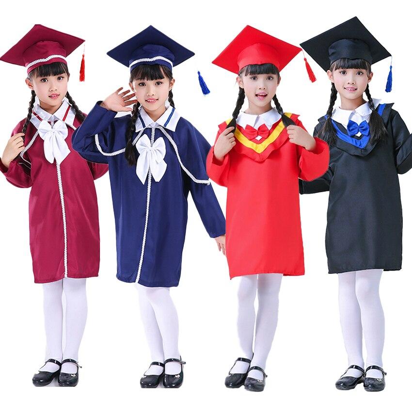 Kids Graduation Gown Children Bachelor Costumes School Students Uniform Girls Dress Set With Hat Baby Performance Clothing