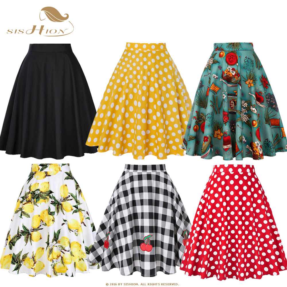SISHION Black Summer Skirt High Waist Plus Size Floral Print Polka Dot Ladies Plaid Women Skirt Swing Vintage Skirts Womens