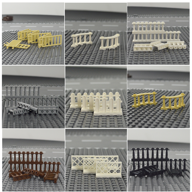 City Accessories MOC Parts Bricks House Fence Stairs Ladder Pillar Wall Lights Building Blocks Compatible Legoinglys Toys