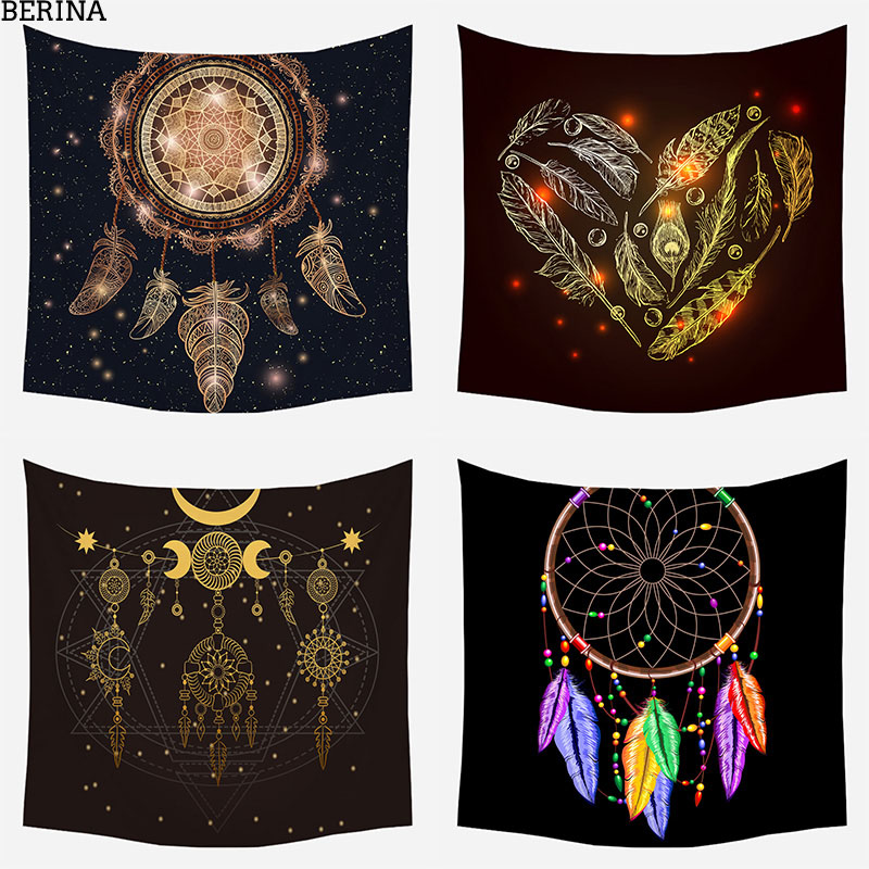 Colored Feathers Tapestry Wall Hanging Bedroom Psychedelics Moon Pendant Bohemian Decoration Polyester Chakra Tapestry 95*73cm