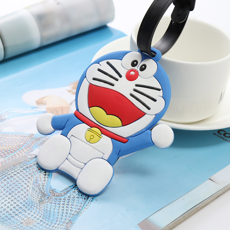 Travel Accessories Luggage Tag Animal Cartoon Silicone Suitcase ID Address Holder Luggage Boarding Portable Tag Doraemon
