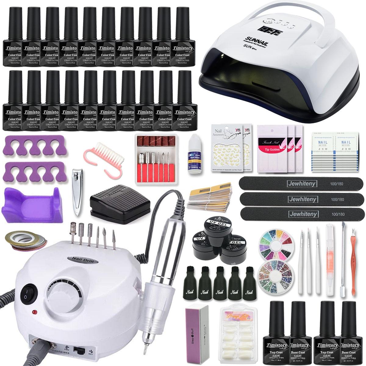 Manicure Set Nail Kit 120/80/54W UV Led Lamp With 20PCS Gel Varnish Set Electric Nail Drill Manicure Tool Kit Nail Extension Kit