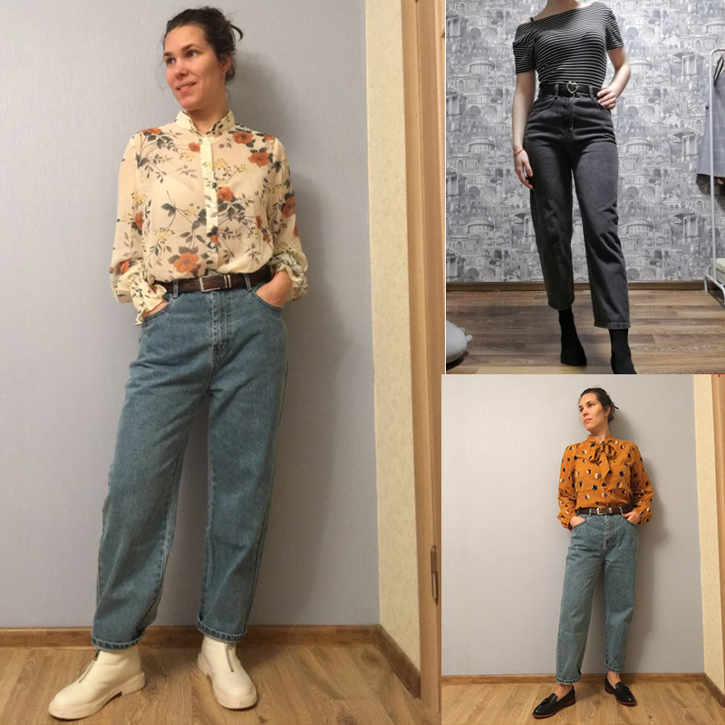 Image 5 - Samstree Blue Solid Pocket Side High Waist Retro Leisure Jeans  Women 2019 Autumn Green Black Straight Korean Female Denim PantsJeans