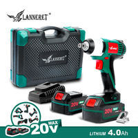 LANNERET Cordless Electric Wrench 20V Impact Wrench 150N.m 1/2 Anvil Square Bit LED Working Light 4.0Ah Lithium Battery
