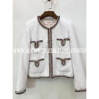 2020 new women's fashion jacket ladies autumn winter retro plaid wool Leisure high quality women's coats Suit jacket