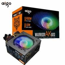 Aigo max 600W PC PSU alimentatore 80plus nero Gaming silenzioso 120mm rgb Fan 24pin 12V ATX alimentatore per computer Desktop BTC