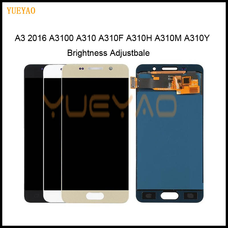 Brightness Adjustbale LCD For Samsung Galaxy A3 2016 A310 A310F A310H A310M LCD Tested Display Digitizer Touch Screen Assembly