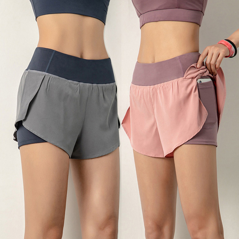 Women Sports Running Shorts Quick Dry Double Layer with Yoga Pocket Shorts N4G4