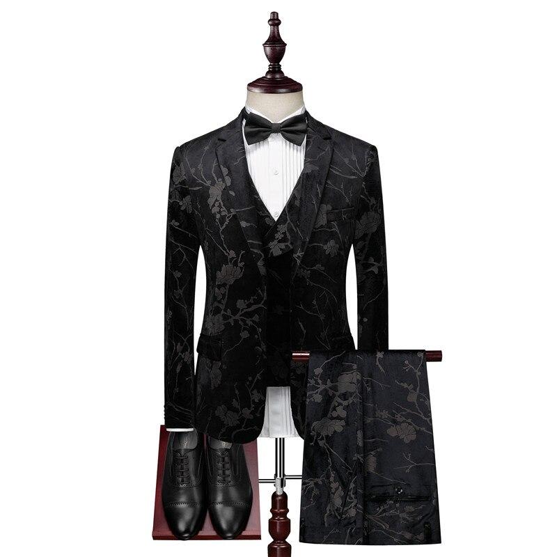 Suit Black Printed Slim Suit костюм Men's Suit High Fashion Men Suit 3-piece Jacket + Pants + Vest Suit Men Formal Costume Homme