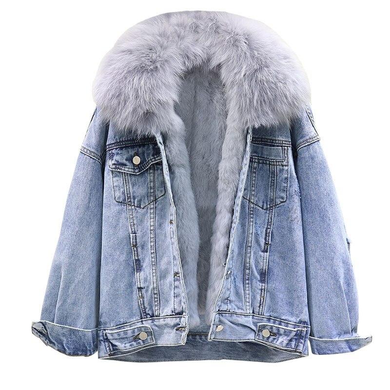 Джинсовая куртка с большим меховым воротником, женское базовое пальто, зимняя съемная подкладка из кроличьей шерсти, Толстая теплая джинсовая куртка, свободное женское джинсовое пальто - 4