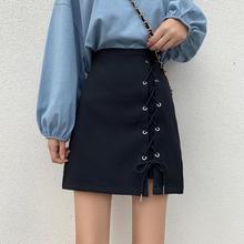 Women's skirt summer new design sense bandage short skirt high waist anti-glare a-line skirt was thin skirt skirt hip skirt skirt figl skirt