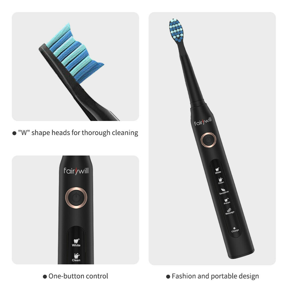 Fairywill Ultrasonic Automatic Tooth Brush Rechargeable Waterproof IPX7 Timer 5 Modes 3 Brush Heads Electric Toothbrush FW-507