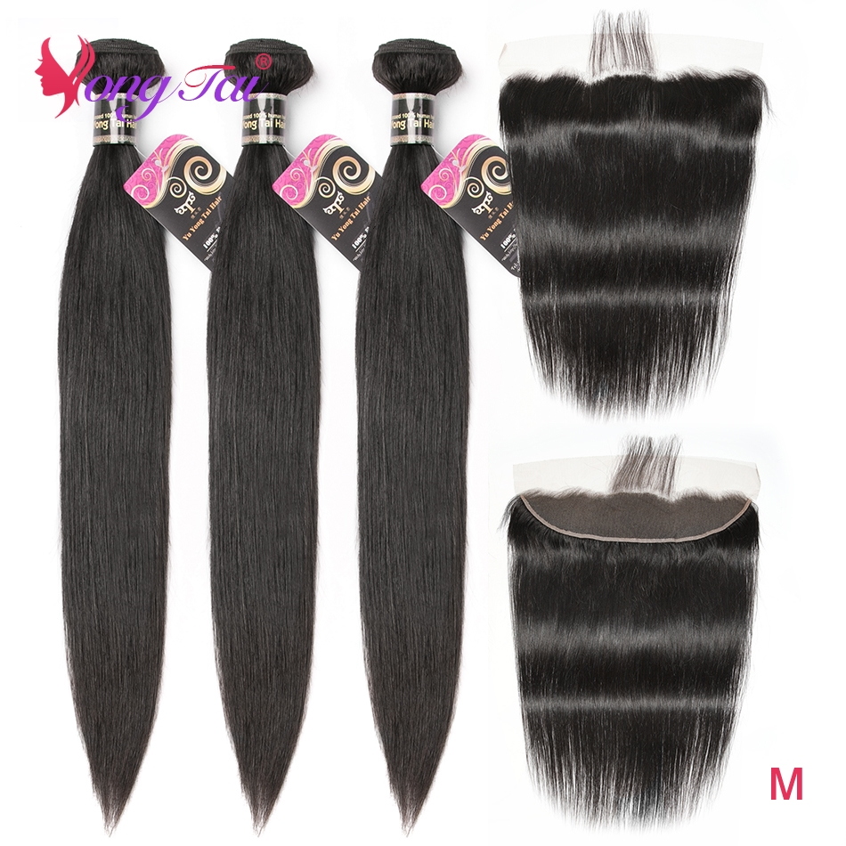 YuYongTair Hair 13X4 Ear To Ear Lace Front With Bundles Straight Brazilian Natural Color 100% Human Hair Non-remy Medium Ratio
