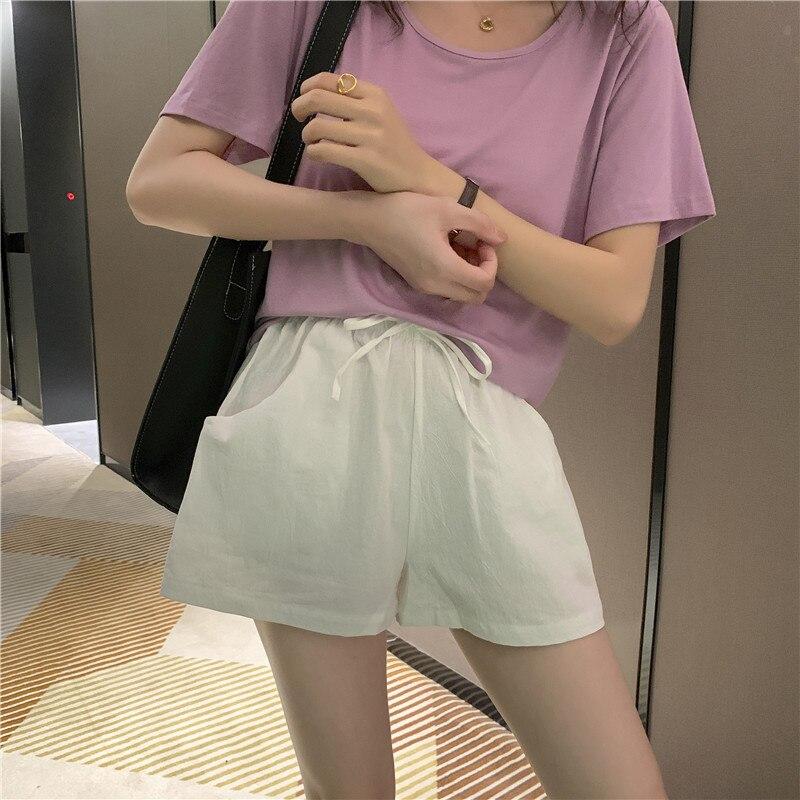 2020 New Loose Wide Leg Slim Thin Elastic Waist Casual Shorts