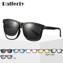 Ralferty Magnet Sunglasses Men Eyeglass Frames With Clip On Sunglass Women Polarized UV400 TR90 3D Night Vision Glasses A2201