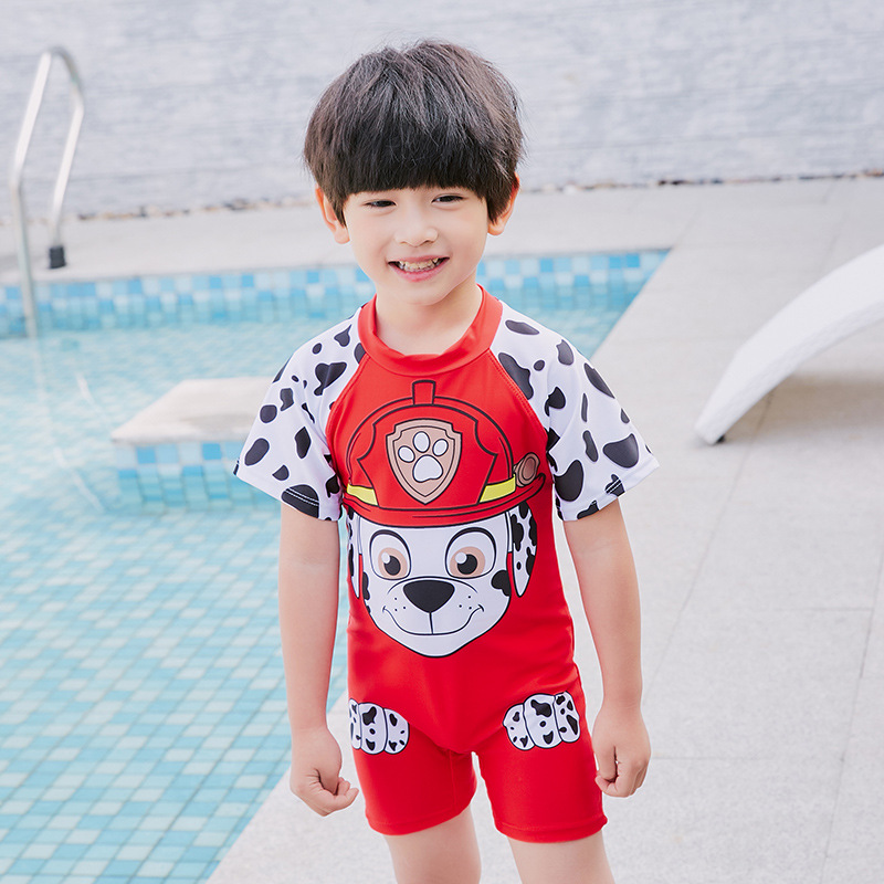 One-piece Swimming Suit Want Captain BOY'S Siamese Swimsuit Short Sleeve Sun-resistant Quick-Dry Boxer Sports Zipper Hot Springs