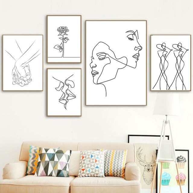 Nordic Minimalist  Figures Line Art Sexy Woman Body Nude Wall Canvas Paintings Drawing Posters Prints Decoration for Livingroom 5