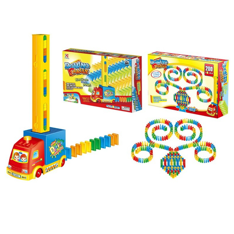 Children Building Domino Electric Train DIY Dominoes Car Automatic Licensing Placed Dominoes E-Bike