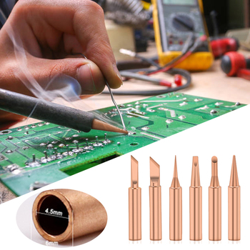 5/6pcs Pure Copper 900M-T Soldering Iron Tip Lead-free Solder Tips Welding Head BGA Soldering Tools free shipping 5pcs lot 900m t copper soldering iron tip lead free solder iron welding tips bga soldering station tools