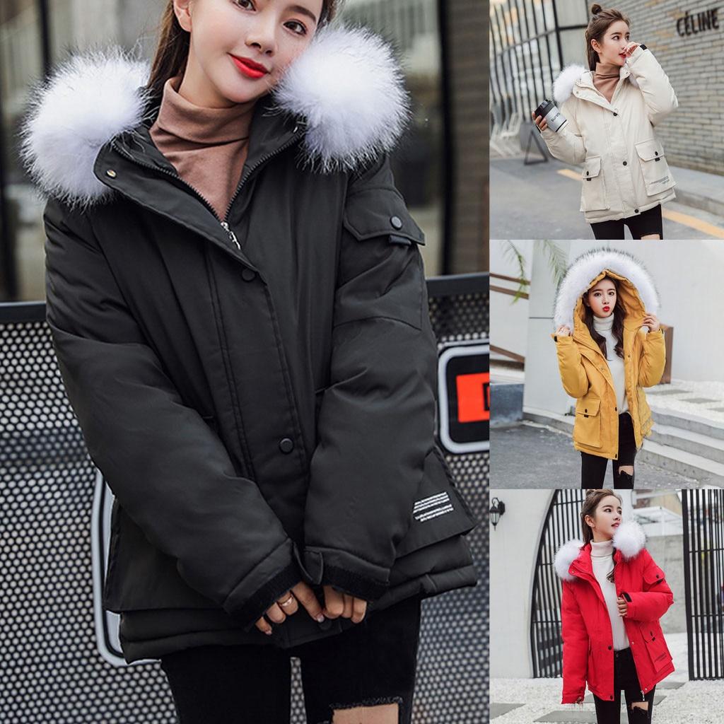 Women Coat and Jacket Sale Women Fashion Loose Outerwear Solid Cotton-Padded Jackets Pocket Hooded Coats Winter Warm Overcoat Long Hooded Jacket Parka Outwear UK Size