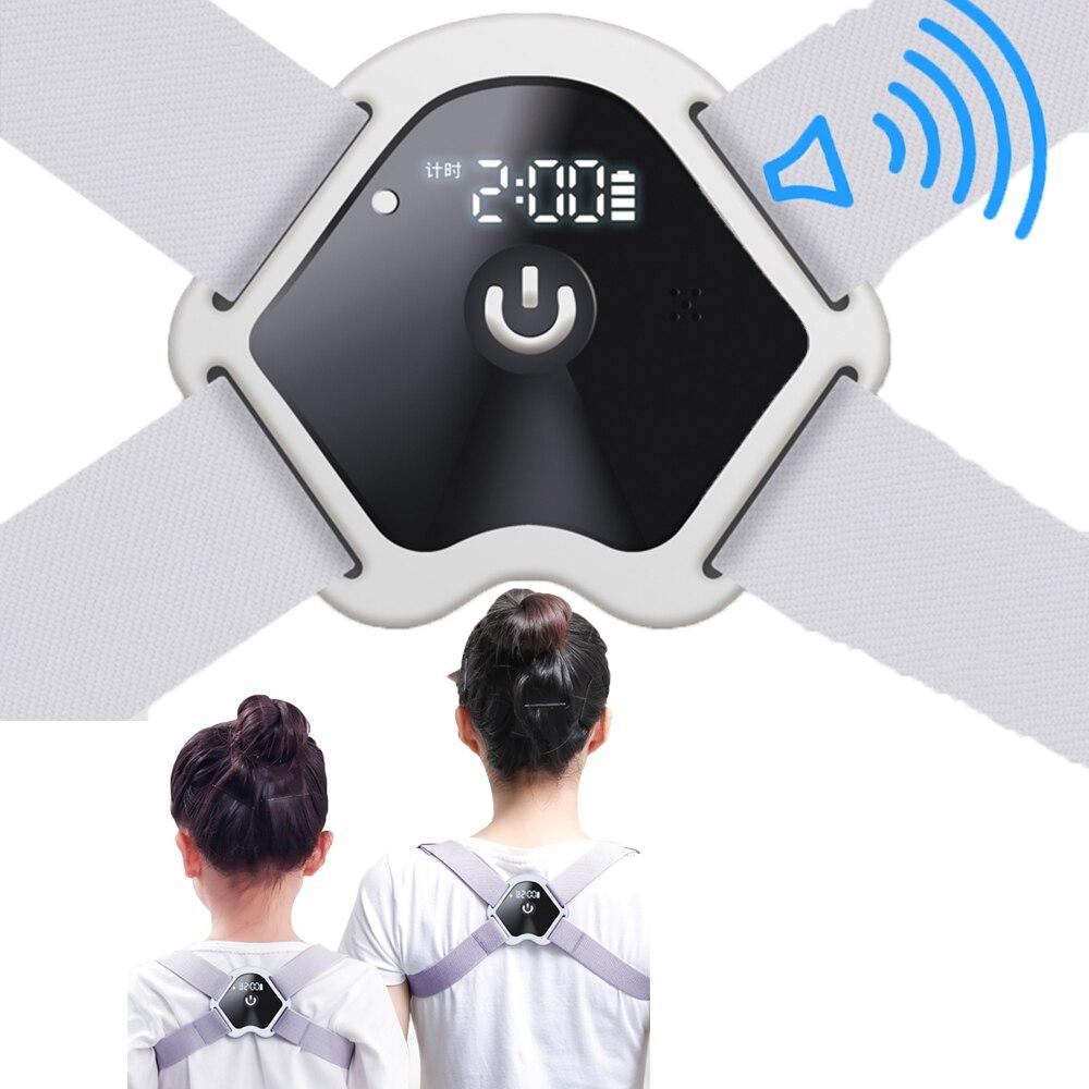 Tela lcd postura corrector ajustável inteligente lembrete de voz postura cinta correção corcunda volta corrector suporte cinto