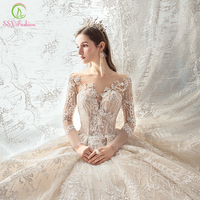 SSYFashion New Bride Luxury Wedding Dress High end White Long Sleeve Lace Appliques Sequins Court Train Wedding Gown Custom