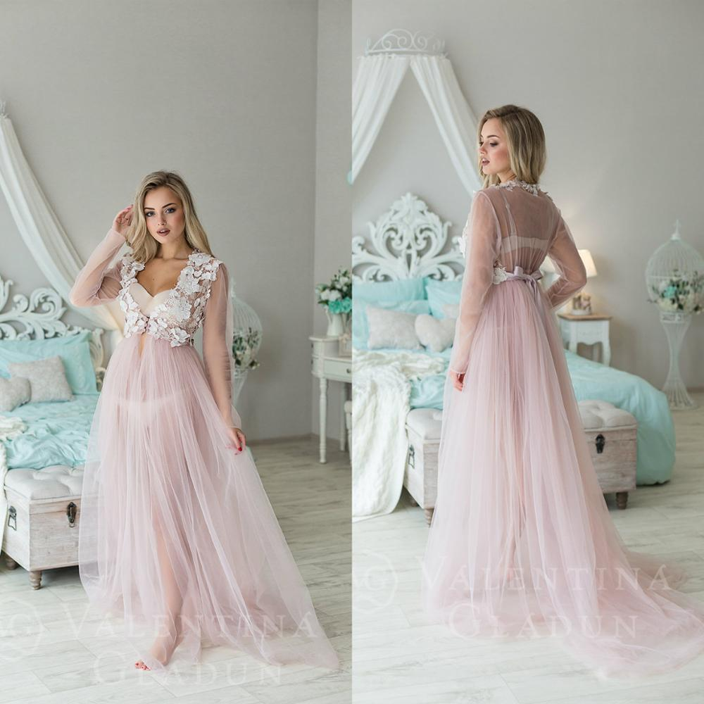 Blush Pink V Neck See Through Night Robes Custom Made Long Sleeves Lace Floral Applique Nightgowns Robes Women Sleepwear