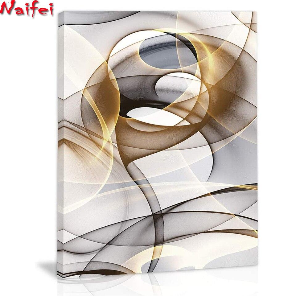 5D DIY Алмазная мозаика, украшение для дома, настенные художественные абстрактные современные украшения для дома, полностью квадратная кругл...