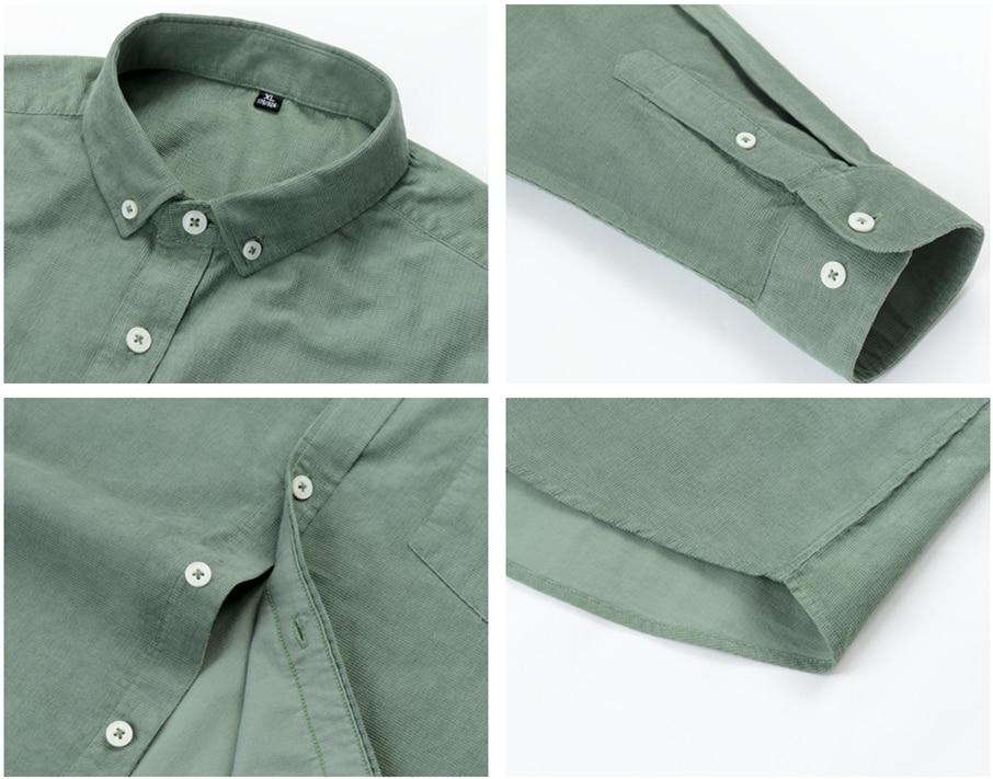 H3b22cbddef234ba4993bbf3aba9c4a1dz Casual Mens Corduroy Shirt Pure Cotton Long Sleeve Brown Thick Winter XXL Regular Fit New Model Male Button Down Shirts