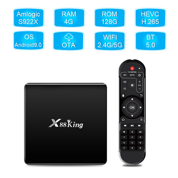 4GB DDR4 128GB TV Box Amlogic S922X Hexa Core Android 9.0 Dual Band Wifi Bluetooth Smart Android9.0 Media Player TV Box X88 King