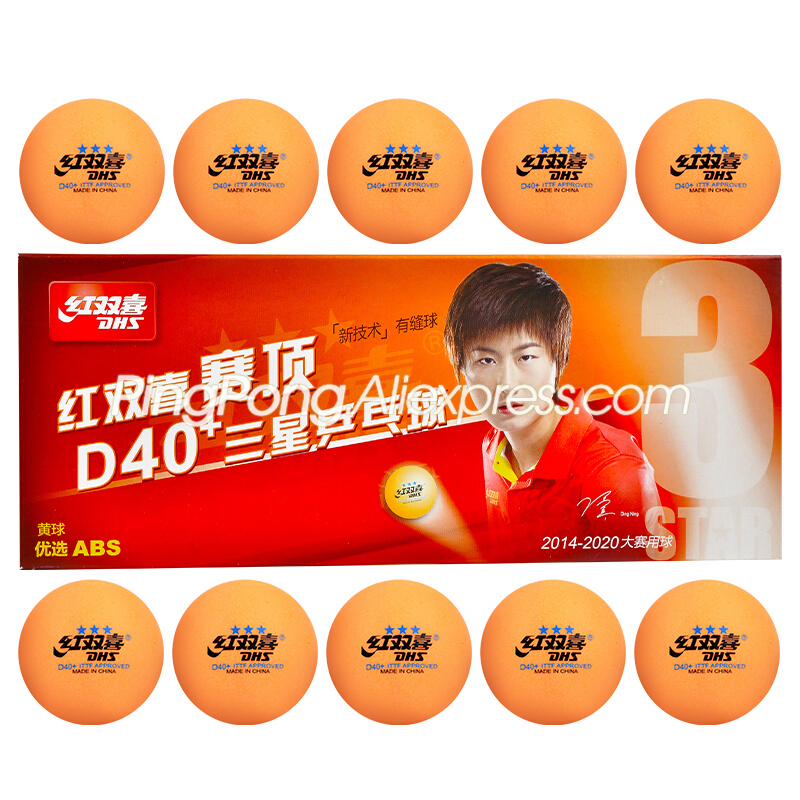 DHS 3-Star Table Tennis Ball D40+ Orange Plastic Poly Original DHS 3 STAR Yellow Ping Pong Balls