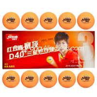 Dhs 3 estrelas bola de tênis de mesa d40 + laranja plástico poli original dhs 3 estrelas amarelo ping pong bolas