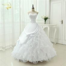 Классический стиль Vestidos De Noiva ТРАПЕЦИЕВИДНОЕ платье без бретелек Аппликация Свадебное платье Часовня Поезд YN0120