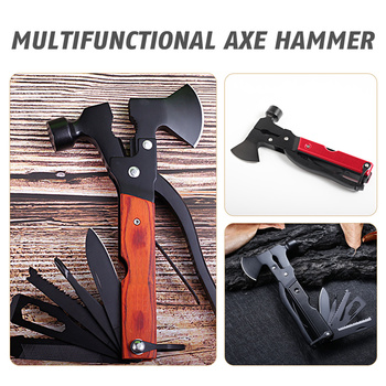 multifunctional axe hammer portable tool car lifesaving hammer broken window hammer camping equipment outdoor activities Hot Multifunctional Axe Hammer Camping Survival Axe Portable Folding  Outdoor Gear Machete Knife Pliers Tactical Tools Hatchet