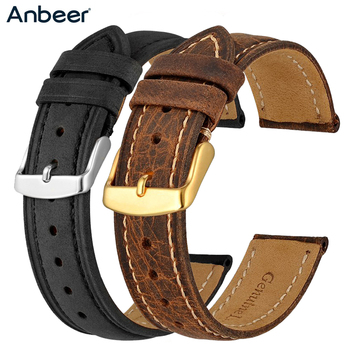 Anbeer 18mm 20mm 22mm Watch Strap,Retro Genuine Leather Watchband, Vintage Replacement Bracelet for Men Women,Polished Buckle
